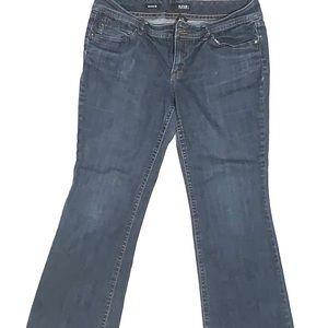 a.n.a. petite women's dark wash bluejeans wide leg